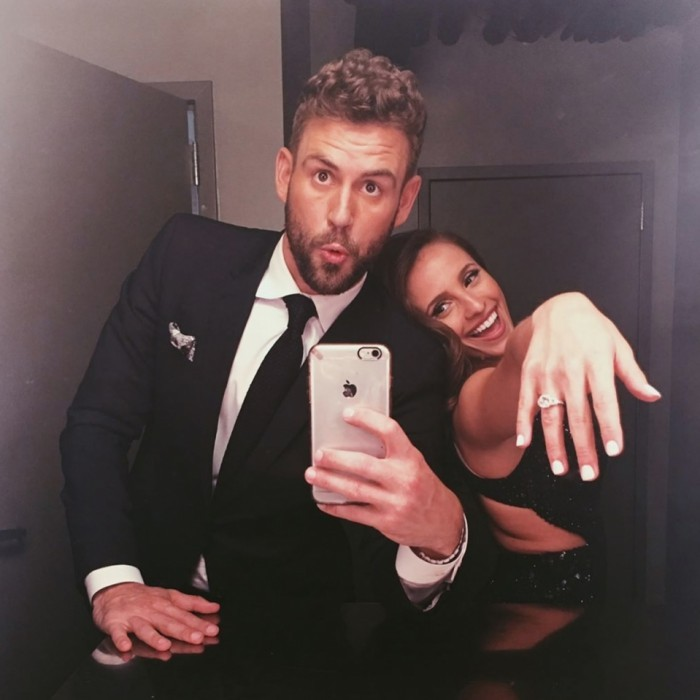 "March 14: He put a ring on it! After much anticipation, it was finally revealed that longtime <i>Bachelor</i> star Nick Viall found love. The day after the finale, Nick took to Instagram to express his joy about being engaged to Vanessa Grimaldi, writing: ""Holy sh*t she said yes!! ❤️❤️❤️❤️. It's been a journey Bachelor Nation!!""