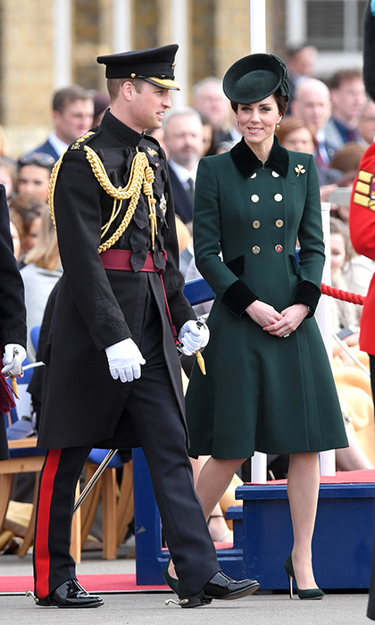 William and Kate at Friday's annual Irish Guards' St Patrick's Day Parade at Household Cavalry Barracks.