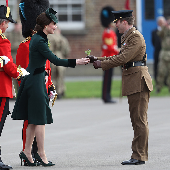 The Duchess of Cambridge presented sprigs of shamrock to the Officers and Guardsmen.