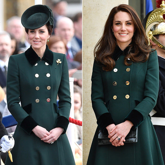 On St Patrick's Day 2017, the royal's philosophy seemed to be: never underestimate the power of a blowout! After spending the day at the Irish Guards' parade in London wearing a chic hat and Catherine Walker coat, Duchess Kate easily revamped her formal and tailored look for her 4:30pm arrival in Paris to start a two-day tour with Prince William. Kate simply removed her hat to let her hair down in her trademark bouncy hairstyle and added a leather clutch – giving a fresh city chic vibe to the same outfit.