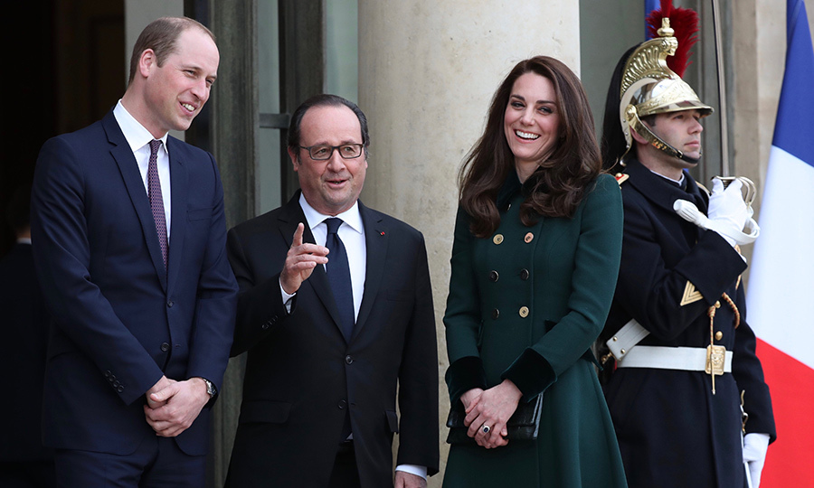 Prince William and Kate arrived in the French capital on Friday, just hours after attending a St Patrick's Day parade at Cavalry Barracks in London. Looking remarkably fresh, William and Kate headed to the Élysée Palace for their first engagement of the trip – a meeting with French President Francois Hollande. The politician and the royals, who have met on a number of occasions, were in high spirits at the reunion. 
