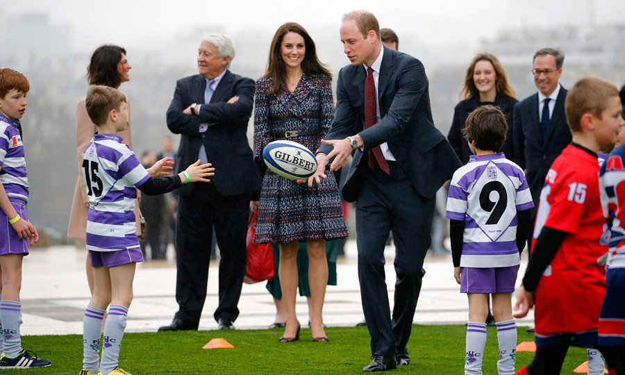 Prince William also joined in on the fun, nabbing the ball before the Six Nations match.