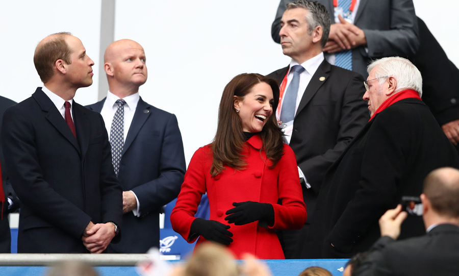 Prince William and his lady in red, then watched the professionals do it. The couple cheered for Wales as they took on France in the nail-biting Six Nations match.