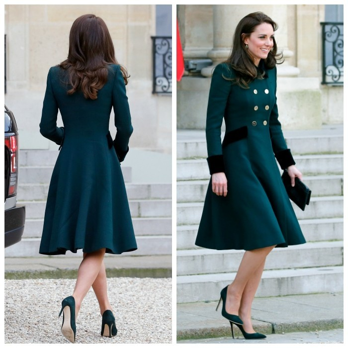 "Duchess Kate met Paris' high fashion standards from day one, dawning a sleek green ensemble on St. Patrick's Day. The royal's philosophy seemed to be: never underestimate the power of a blowout! After spending the day at the Irish Guards' parade in London <a href=""http://us.hellomagazine.com/fashion/120141007320/kate-middleton-s-style-top-20-recycled-outfits/1""><strong>wearing a chic hat</strong></a> and Catherine Walker coat, Kate easily revamped her formal look for her first engagement in Paris, a meeting with French President Francois Hollande at the Elysee Presidential Palace. Kate removed her hat and let her hair fall into her trademark bouncy curls. She also added a leather clutch – giving a fresh city vibe to the same outfit. The tailored look even stunned from the back!