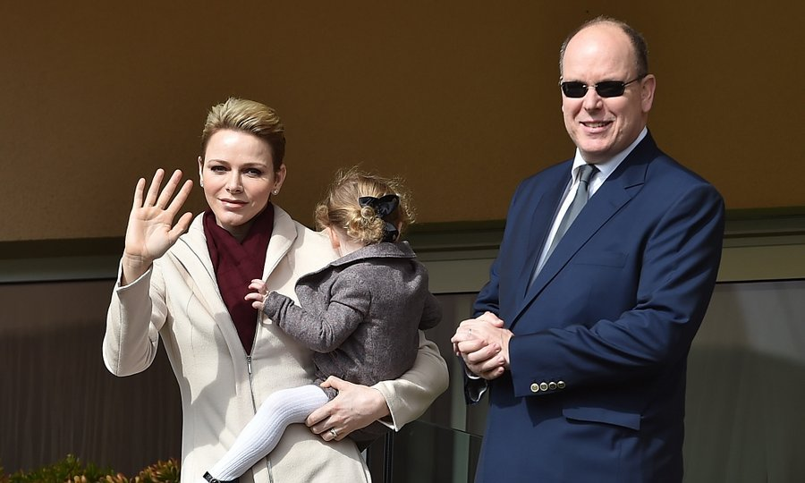 Prince Albert and Princess Charlene of Monaco stepped out with one of their twins, two-year-old Princess Gabriella, for the Sainte Devote Rugby Tournament in Monte-Carlo on March 18.