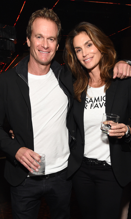 March 16: Rande Gerber and Cindy Crawford were a coordinating couple during TAO, Beauty & Essex, Avenue and Luchini L.A.'s grand opening block party in Hollywood.