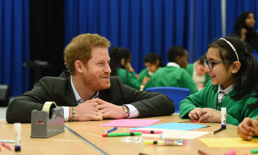 Prince Harry chatted with ten-year-old girl Unaisah Shaikh who has been taking part in the Yes You Can personal development project at Hamilton Community College in Leicester, England.