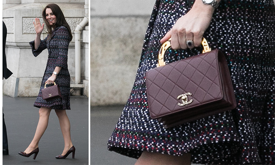 In March 2017, the Duchess broke her no-handle rule for this quilted <b>Chanel</B> bag with decorative enamel detail.