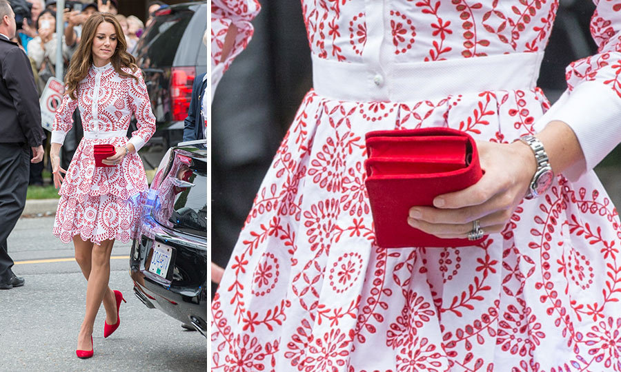 During the Royal Tour of Canada in 2016, the Duchess of Cambridge set off her patterned Alexander McQueen dress with red heels and a matching <b>Miu Miu</B> clutch.
