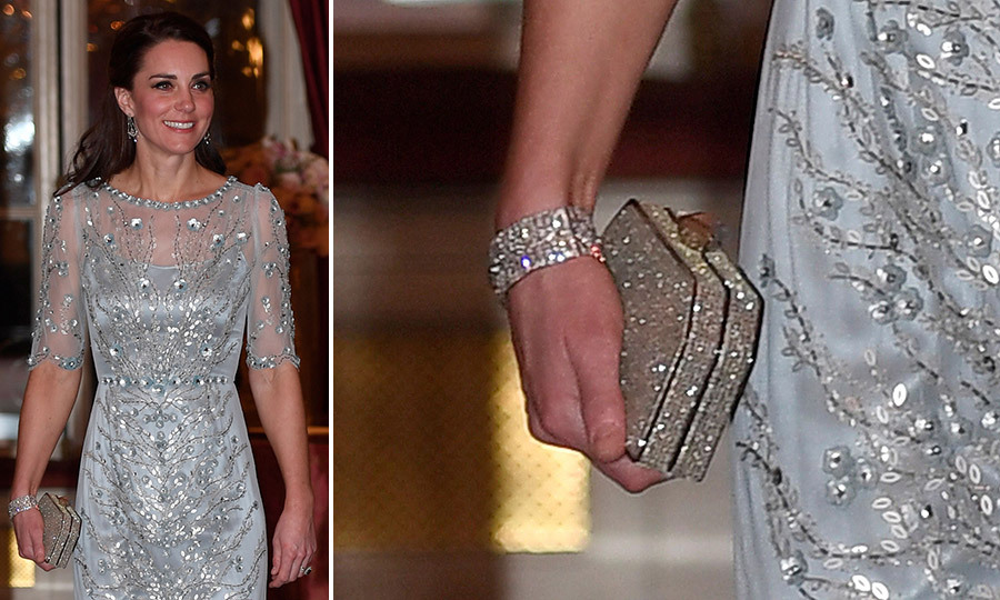 For a March 2017 dinner at the British embassy in Paris, Kate carried this sparkling <b>Jenny Packham</B> crystal box clutch.