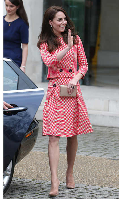 The Duchess waved to wellwishers as she arrived.