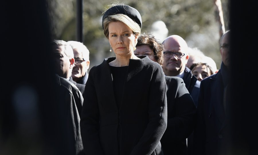 On March 22, a somber Queen Mathilde of Belgium attended the inauguration of a steel memorial in Brussels as her country marked the first anniversary of last year's terrorist attacks in the city.
