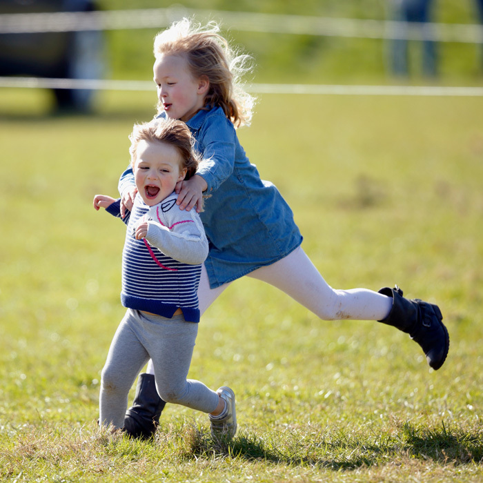 The little royal played with her royal relatives including cousins Savannah (seen here) and Isla Phillips at Gatcombe Park in Stroud, England.
