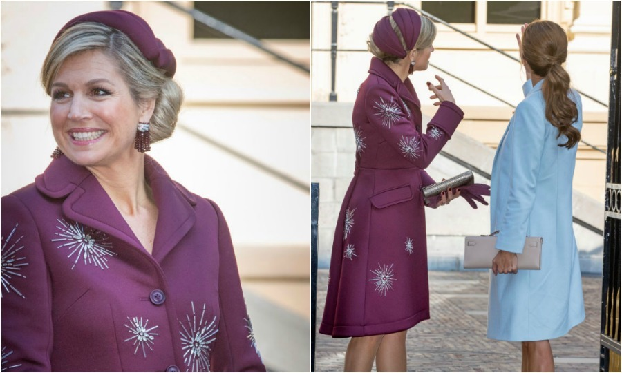 Queen Maxima accessorized her plum coat with a matching chapeau as she and Argentina's First Lady Juliana Awada visited the Center for Youth and Family in The Hague, before touring the Mauritshuis art museum. 
