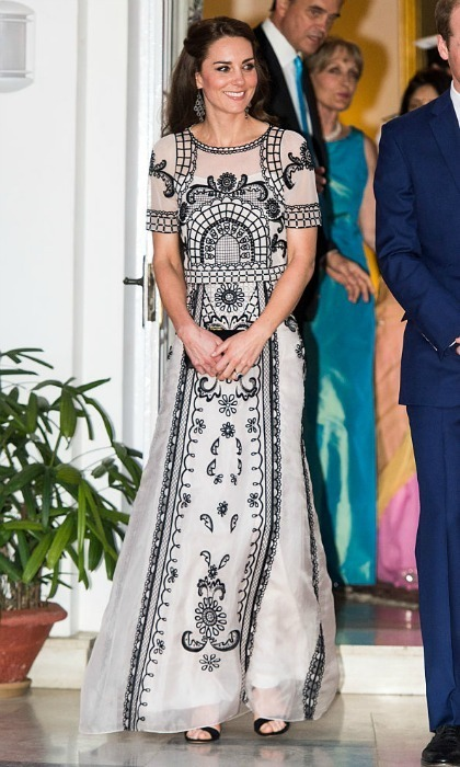 The Duchess wore an Indian-inspired gown by the British designer during her 2016 tour of India with Prince William.