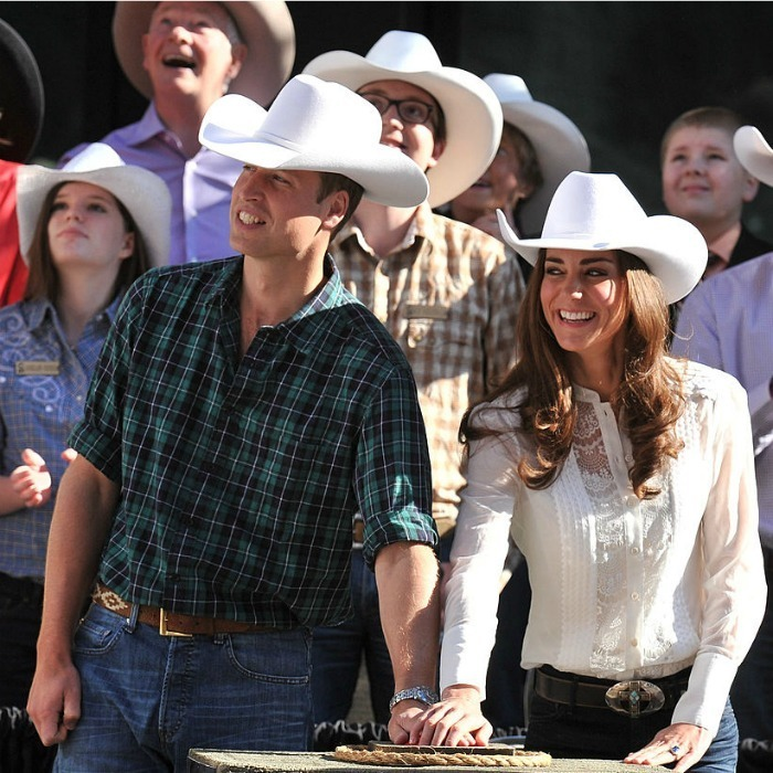 The Duchess of Cambridge attended the Calgary Stampede Parade donning a white lace blouse by Temperley during her and Prince William's 2011 tour of North America.