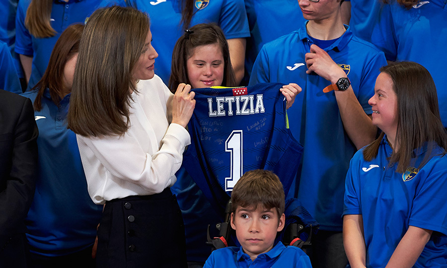 Queen Letizia of Spain received this cool personalized gift from youngsters from the Club Estudiantes SAD Foundation at the Zarzuela Palace on March 28 in Madrid.