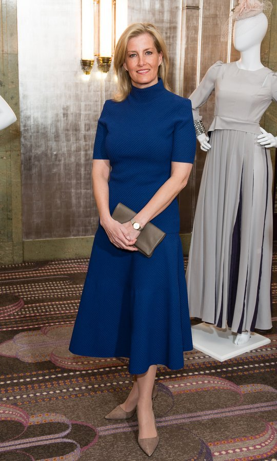 Sophie, Countess of Wessex went minimal in a blue midi and taupe accessories for the Mencap charity lunch at Sheraton Park Lane Hotel on March 27 in London.