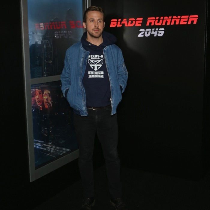 March 27: Ryan Gosling also discussed <i>Blade Runner 2049</i> this week! The 36-year-old star visited CinemaCon 2017 at Caesars Palace in Las Vegas. During Sony Picture's presentation, Ryan helped debut footage of the film that featured an apocalyptic-looking Los Angeles and Las Vegas.