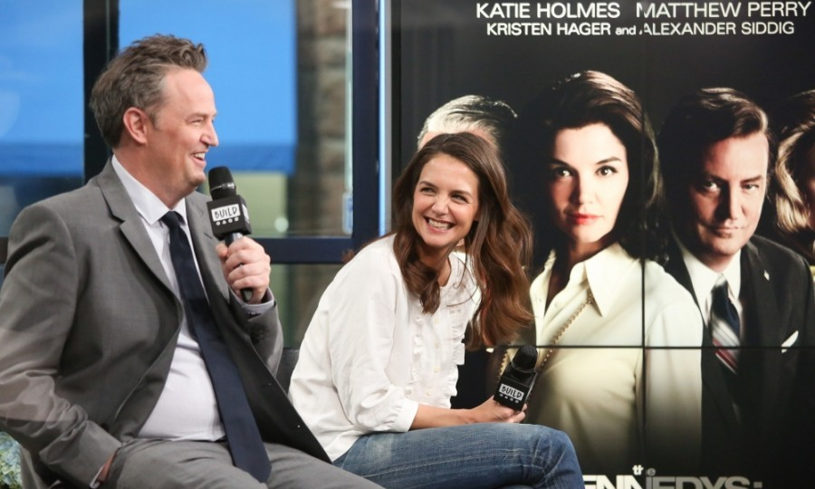 March 30: Matthew Perry and Katie Holmes had a blast discussing <i>The Kennedys - After Camelot</i> miniseries while on AOL's <i>Build Series</i> in New York City. 