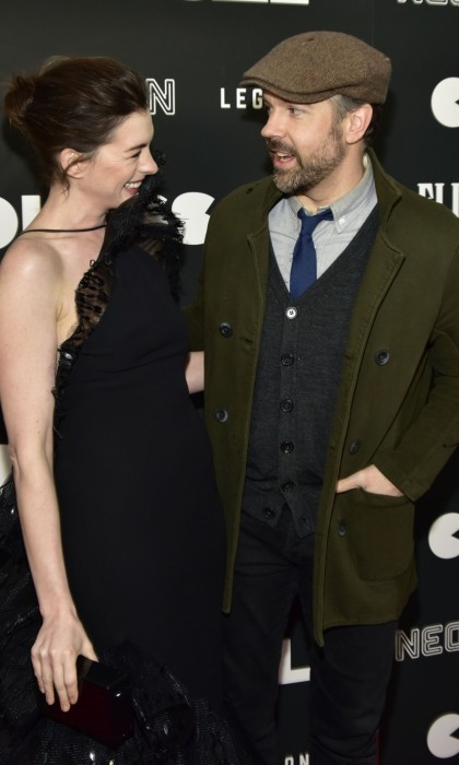 March 28: Anne Hathaway and Jason Sudeikis shared some big laughs at the premiere of their new comedy <i>Colossal</i>. The event, which was co-hosted by FIJI Water, took place at AMC's Lincoln Square Theater in New York City. 
