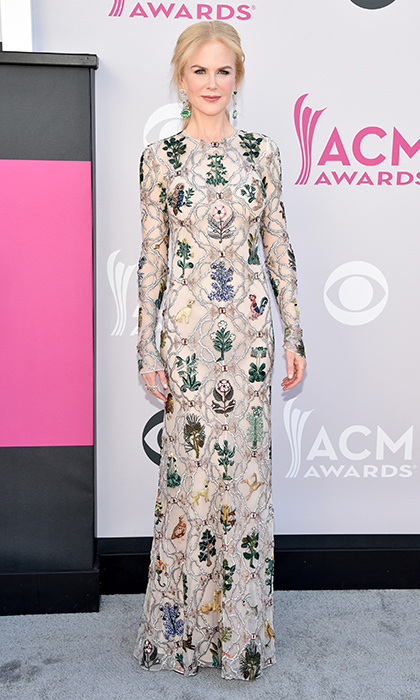 April 2: Actress Nicole Kidman opted for embellished Alexander McQueen for the 52nd Academy Of Country Music Awards at Toshiba Plaza in Las Vegas, Nevada.