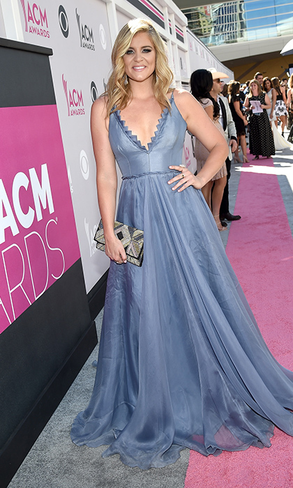 April 2: Lauren Alaina hit the pink carpet in a blue princess gown by Season 5 Project Runway winner Leanne Marshall at the 52nd Academy Of Country Music Awards in Las Vegas.