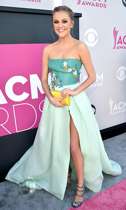 April 2: Kelsea Ballerini was the picture of spring in Monique Lhuillier at the 52nd Academy Of Country Music Awards at Toshiba Plaza in Las Vegas, Nevada. 