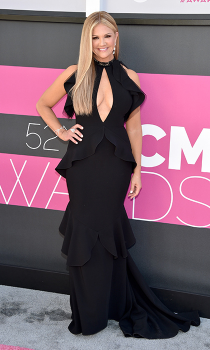 April 2: Nancy O'Dell made her entrance in a tiered halter dress at the 52nd Academy Of Country Music Awards in Las Vegas.