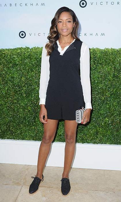 "April 1: Naomie Harris said she had enjoyed celebrating the ""fabulously talented"" designer Victoria Beckham at the Target launch. The actress looked stylish wearing a black playsuit and white blouse, styled with a clutch bag and co-ordinating brogues.