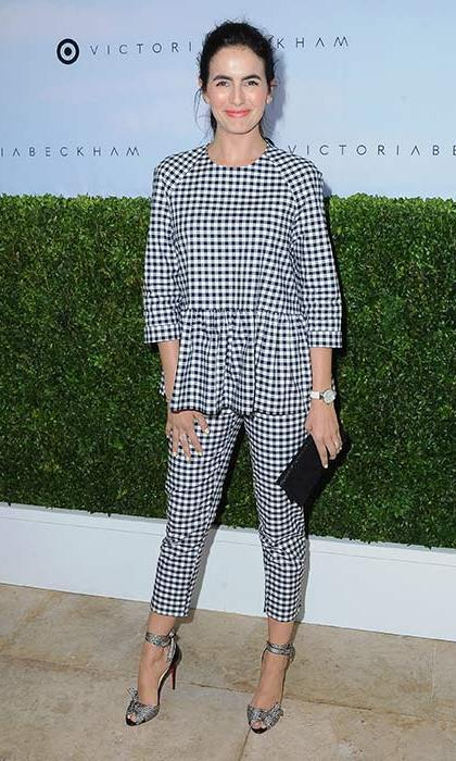 April 1: Camilla Belle turned heads in this black and white gingham top and co-ordinating cropped trousers.