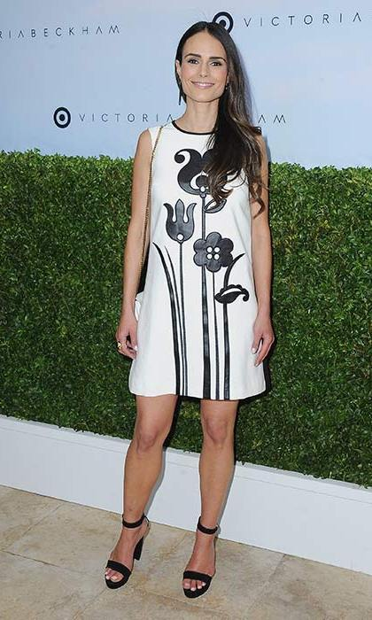 April 1: Jordana Brewster also wore a monochrome look from Victoria Beckham's collection. We love her flower print shift dress and matching sandals.