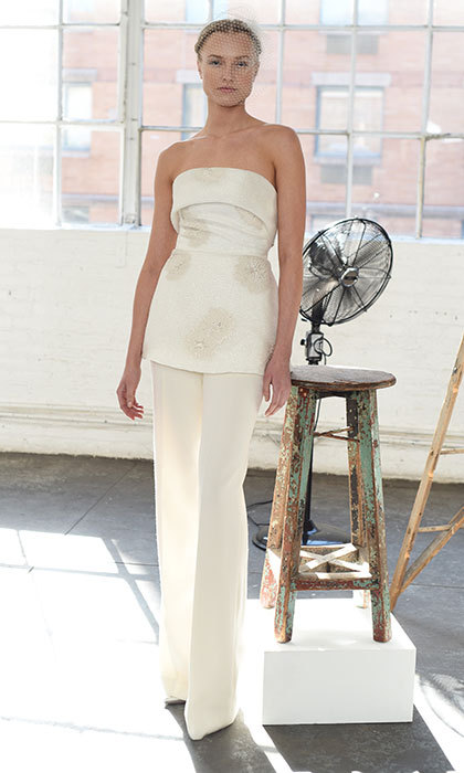Daytime elegance never looked better than in <b>Lela Rose</b>'s wedding pantsuit. This tailored wedding day number works as a perfect alternative to the traditional dress.