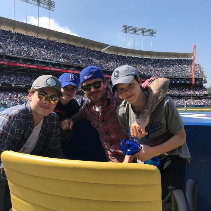 April 3: Take me out to the ball game! David Beckham attended Dodgers Opening Day at Dodgers Stadium in L.A. The 41-year-old star and his kids got a front row seat for the game against the San Diego Padres.