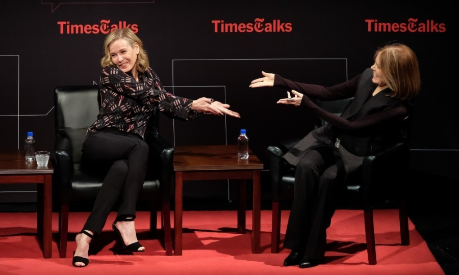 April 3: Chelsea Handler and Gloria Steinem showed each other some love at <i>TimesTalks</i> Presents Gloria Steinem x Chelsea Handler at the BMCC Tribeca Performing Arts Center in New York City. 