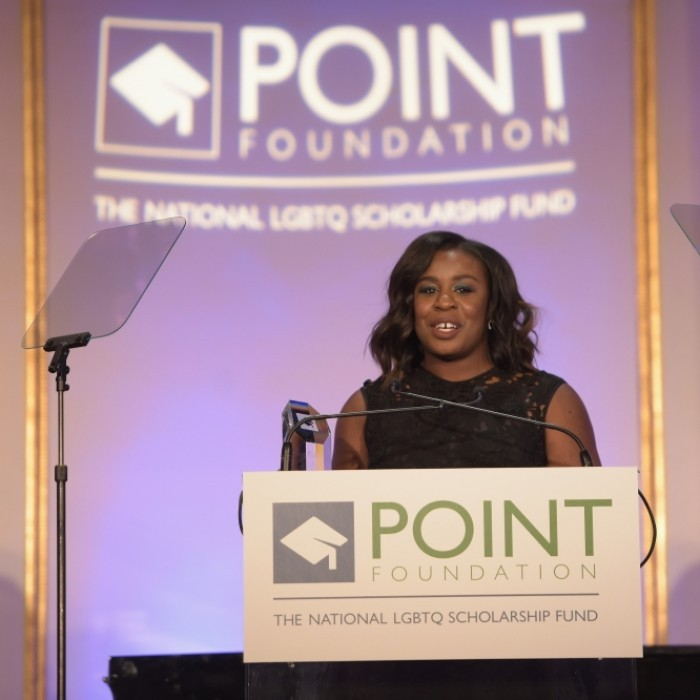 April 3: Uzo Aduba accepted the Courage Award at the Point Honors Gala at The Plaza Hotel in New York City. The <i>Orange is the New Black</i> star was given the award by <i>Hamilton</i>'s Javier Munoz. 