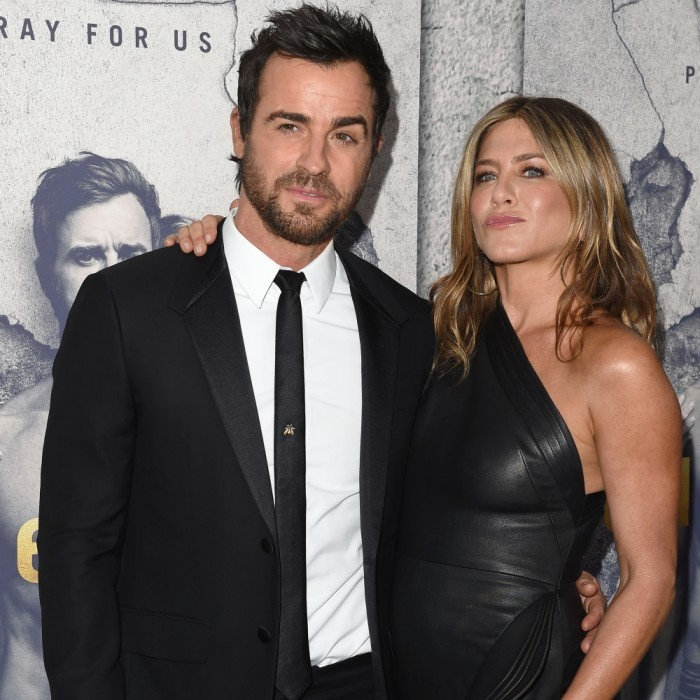 April 4: Justin Theroux and Jennifer Aniston played it cool at the Season 3 premiere of Justin's show <i>The Leftovers</i> at Avalon Hollywood in L.A. 