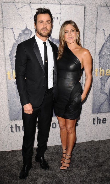 April 4: Hot couple alert! Justin Theroux and Jennifer Aniston wore sleek black ensembles at the season 3 premiere of Justin's show <i>The Leftovers</i> at Avalon Hollywood in L.A. 
