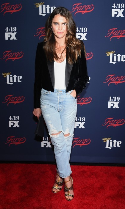 April 6: Keri Russell hit the red carpet at FX Network's 2017 All-Star Upfront at SVA Theater in New York City. The <i>Americans</i> star kept things casual in ripped jeans, a white t-shirt and a velvet blazer. 