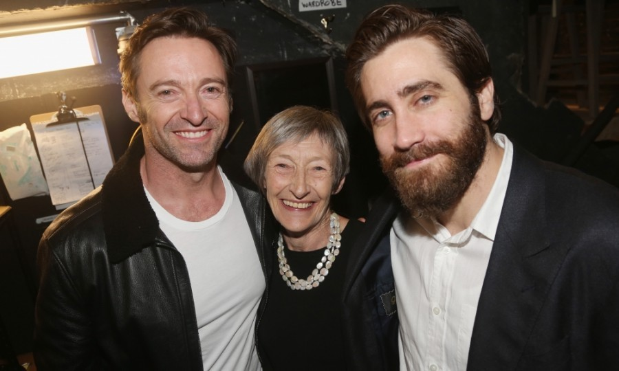 April 4: Mom and son date night! Hugh Jackman and his mom Grace McNeil happily posed backstage with Jake Gyllenhaal after a performance of Broadway's <i>Sunday in The Park with George</i>. Jake stars in the production at the Hudson Theatre in New York City. Hugh is no stranger to Broadway himself, having won two Tony Awards.