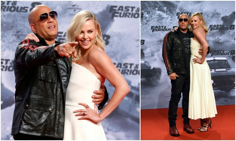 April 4: Fast friends! Vin Diesel and Charlize Theron made for a fun pair at the <i>Fast & Furious 8</i> Berlin Premiere at Sony Centre in Germany. Vin Diesel played it cool in a black ensemble and shades, while Charlize brought Hollywood glam to Berlin in a creamy dress. 