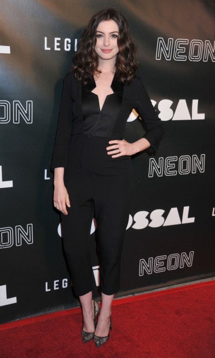 April 4: Anne Hathaway stunned at the L.A. premiere of her film <i>Colossal</i> at the Vista Theatre. The star wore a black Vivienne Westwood jumpsuit and Christian Louboutin shoes.
