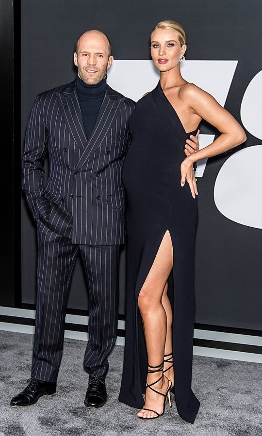 April 8: Parents-to-be Jason Statham and Rosie-Huntington-Whiteley bumped up their evening style to attend the <i>Fate of the Furious</i> New York Premiere.