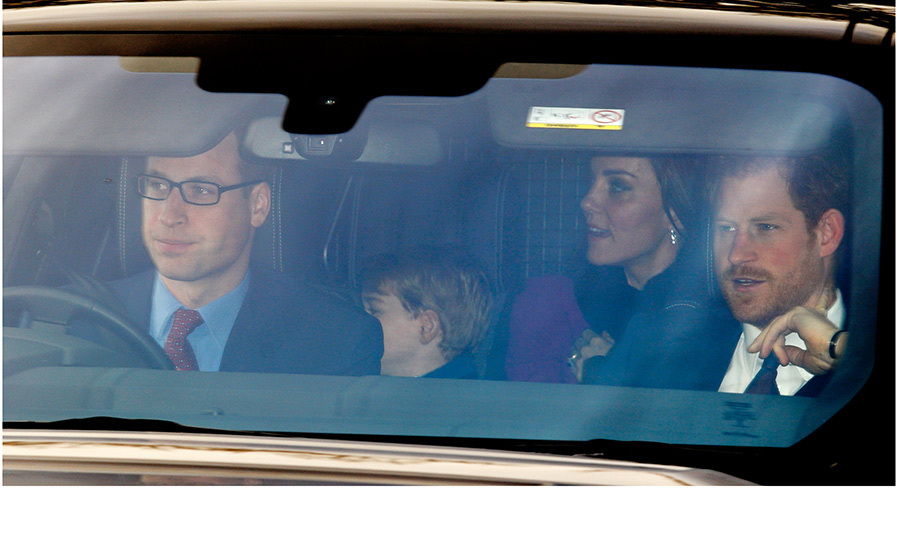 Prince William was in the driver's seat as he, Prince George, Duchess Kate and, of course, Prince Harry arrived for Christmas lunch hosted by Queen Elizabeth at Buckingham Palace in December 2016.