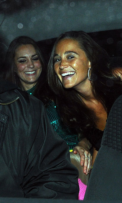 Kate and Pippa Middleton enjoyed a sisters' night out in London back in 2008. 