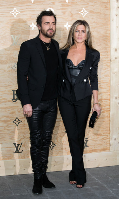 April 11: It was a night at the museum for Justin Theroux and Jennifer Aniston as they celebrated the collaboration between Louis Vuitton and Jeff Koons at the Louvre in Paris.