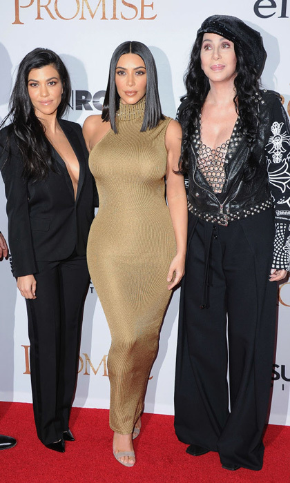 April 12: Kim Kardashian and Kourtney posed with Cher as they supported the film <i>The Promise</i> which highlights their Armenian heritage, at the TCL Chinese Theatre in Hollywood.