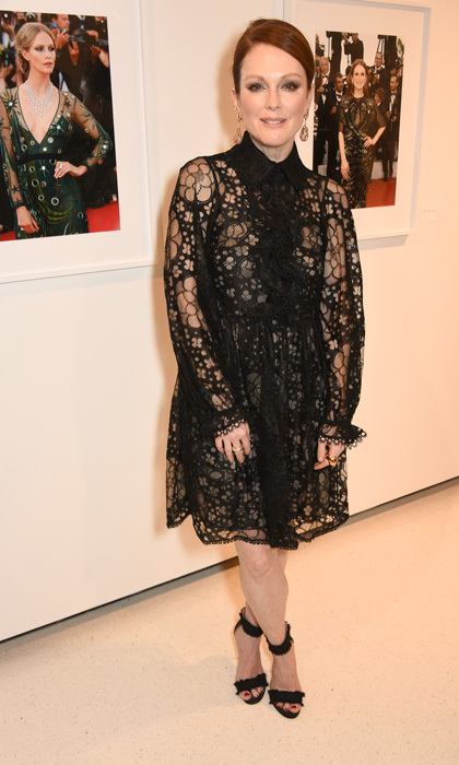 April 13: Julianne Moore wore a black lace dress with heeled sandals to the Vogue & Chopard open Glittering Prizes, a photo exhibition by Ivan Shaw, celebrating 70 years of the red carpet at the Cannes Film Festival in NYC.