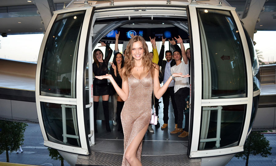 April 10: Josephine Skriver had a view of Las Vegas from above as she checked out the world's tallest observation wheel, the High Roller at The LINQ Promenade with boyfriend Alexander DeLeon and friends.