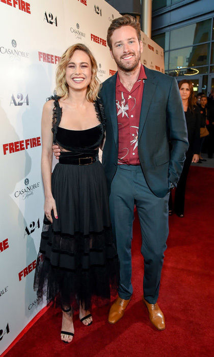 April 13: Brie Larson accessorized her black dress with a million dollar smile as she and Armie Hammer attended their premiere for <i>Free Fire</i> sponsored by Casa Noble Tequila in L.A.